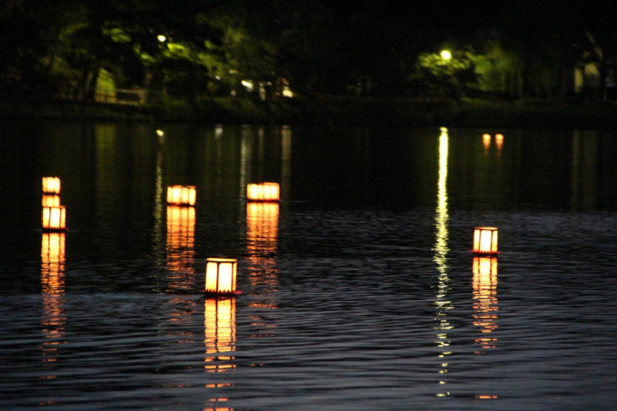Lantern Floating at Senzokuike Pond